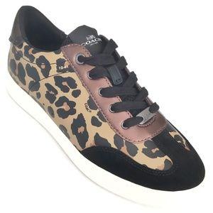 Coach Womens C126 Signature Sneakers Brown Black